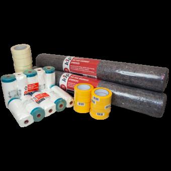 Maler Renovierungs- / Hobby-Set / Maler-Set mit Abdeckvlies, Klebeband und Masker