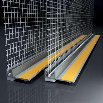 Anputzleiste mit Glasgewebe, Farbe: grau, Länge: 2,4 m