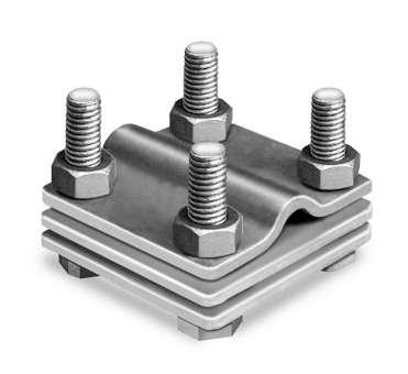 Kreuzverbinder verzinkt, 3-teilig, mit Zwischenplatte, flach/rund