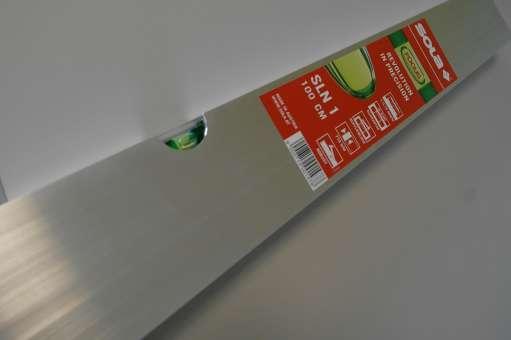Estrichleger-Setzlatte Alu 8 cm hoch mit Libelle, 1,0 mtr.
