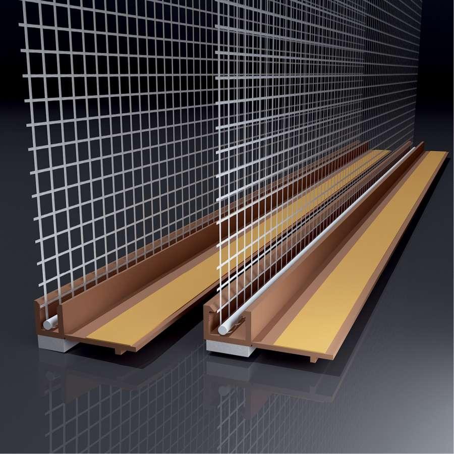 Anputzleiste mit Glasgewebe, Farbe: braun, Länge: 2,4 m