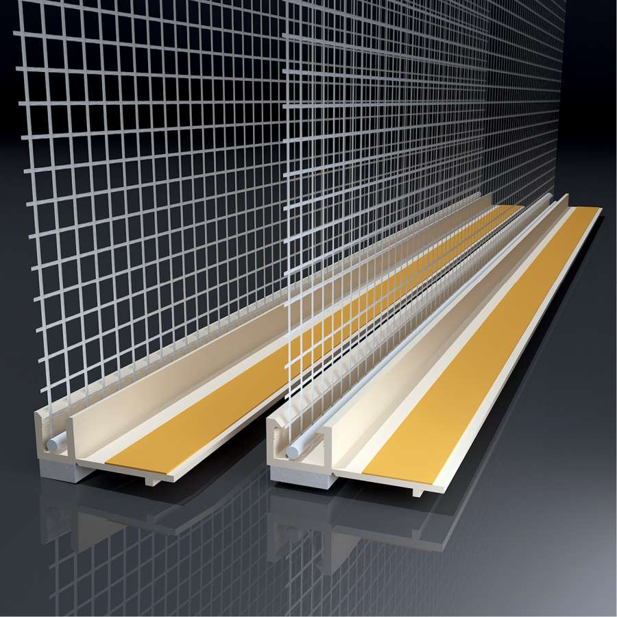 Anputzleiste mit Glasgewebe, Farbe: beige, Länge: 2,4 m